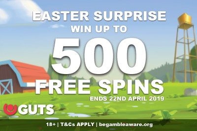 Win Up To 500 Free Spins At Guts Casino This Easter