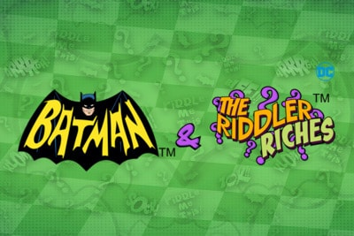 Batman and the Riddler Riches Mobile Slot Logo