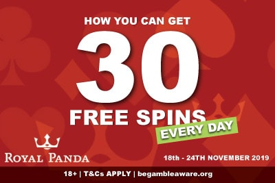 Get Your 30 Free Spins Every Day Ar Royal Panda Casino