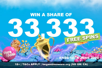 Win A Share of 33,333 Free Spins at Vera&John Mobile Casino