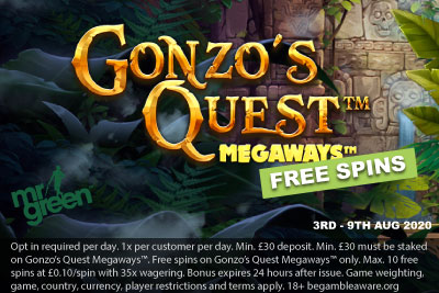 Get Your Mr Green Free Spins On Gonzo's Quest Megaways