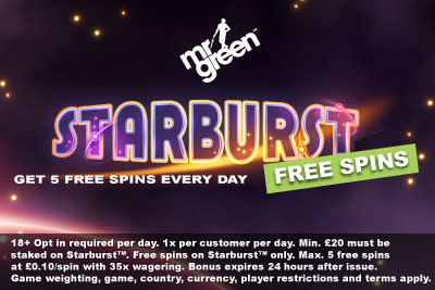 Mr Green Starburst Free Spins Bonus