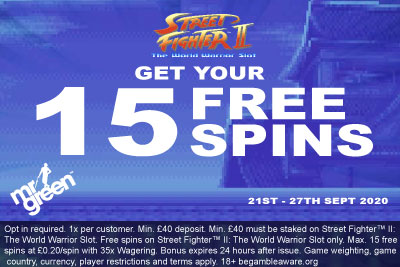 Get Your Mr Green Casino Street Fighter 2 Free Spins