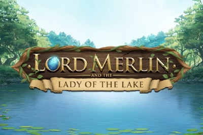 Lord Merlin and the Lady of the Lake Mobile Slot Logo