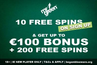 Mr Green Bonus Ireland - 10 Free Spins No Deposit + €100 + 200 Free Spins