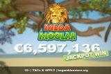 €6.5 Million Huge Mega Moolah Win