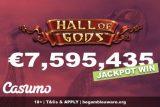 €7,595,435 Finnish Casumo Casino Jackpot Win - Hall Of Gods
