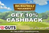 Get 10% Cashback at GUTS Casino